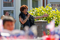 Pictured: Shirley Bassey impersonator Li Harding at a street party in Cardiff. Saturday 19 May 2018<br /> Re: Prince Harry and Meghan Markle Royal Wedding Street Party at Avondale Crescent in Cardiff, Wales, UK.