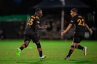 LAKE BUENA VISTA, FL - JULY 23: Darwin Quintero #23 of the Houston Dynamo celebrates a goal during a game between Los Angeles Galaxy and Houston Dynamo at ESPN Wide World of Sports on July 23, 2020 in Lake Buena Vista, Florida.