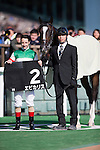 FUCHU,JAPAN-FEBRUARY 19: Epicharis,ridden by Christophe Lemaire, after winning the Hyacinth Stakes at Tokyo Racecourse on February 19,2017 in Fuchu,Tokyo,Japan (Photo by Kaz Ishida/Eclipse Sportswire/Getty Images)