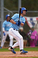 Indiana State Sycamores Brandt Nowaskie (16) hits a home run during a game against the Dartmouth Big Green on February 21, 2020 at North Charlotte Regional Park in Port Charlotte, Florida.  Indiana State defeated Dartmouth 1-0.  (Mike Janes/Four Seam Images)