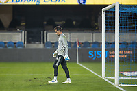 SAN JOSE, CA - OCTOBER 07: JT Marcinkowski #18 of the San Jose Earthquakes warming up during a game between Vancouver Whitecaps and San Jose Earthquakes at Eathquakes Stadium on October 07, 2020 in San Jose, California.