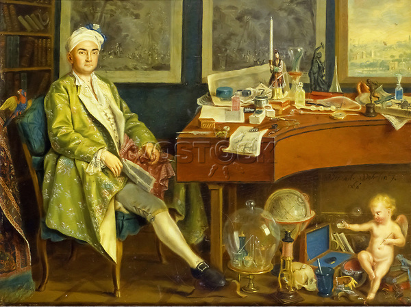 A Collector in his Study by Venceslao Verlin (Wenceslaus Wehrlin) (1740-1780). Oil painting on panel.