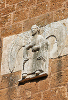 13th century angel sculptures on the facade of the Romanesque Basilica Church of Santa Maria Maggiore, Tuscania