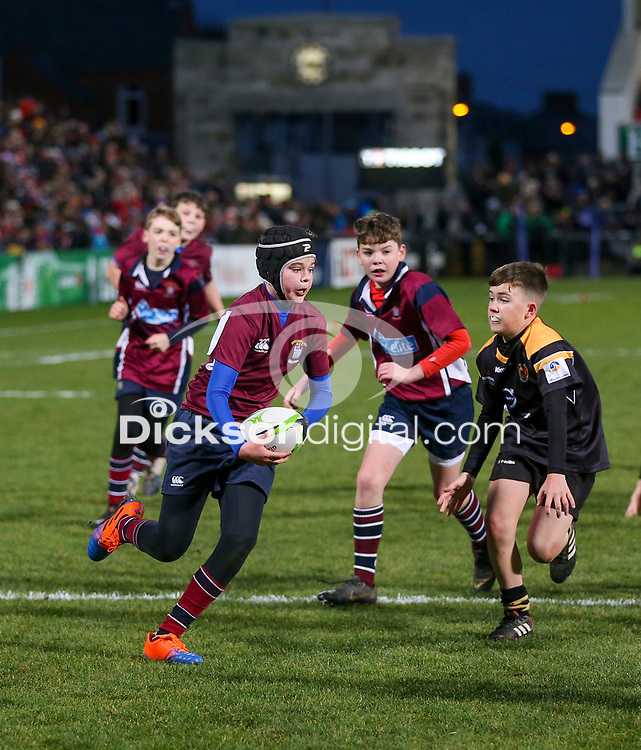 Saturday 7th December 2019 | Ulster Rugby vs Harlequins<br /> <br /> Halftime mini rugby during the Heineken Champions Cup Round 3 clash in Pool 3, between Harlequins and Ulster Rugby at Kingspan Stadium, Ravenhill Park, Belfast, Northern Ireland. Photo by John Dickson / DICKSONDIGITAL