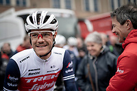 Jasper Stuyven (BEL/Trek-Segafredo) greeting his dad pre-race<br /> <br /> 75th Omloop Het Nieuwsblad 2020 (1.UWT)<br /> Gent to Ninove (BEL): 200km<br /> <br /> ©kramon