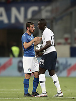 International friendly football match France vs Italy, Allianz Riviera, Nice, France, June 1, 2018. <br /> Italy's Alessandro Florenzi (l) greets France's Benjamin Mendy (r) at the end of the international friendly football match between France and Italy at the Allianz Riviera in Nice on June 1, 2018.<br /> France wins 3-1.<br /> UPDATE IMAGES PRESS/Isabella Bonotto