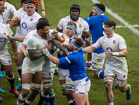 13th February 2021; Twickenham, London, England; International Rugby, Six Nations, England versus Italy; Italian tempers flare on the pitch as they feel the pressure