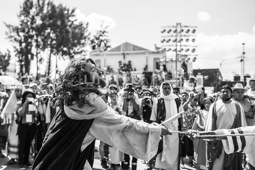 Recreation of crucifixtion during holly week in Iztapalapa, Mexico City. March 25 2016.