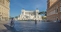"""Travel Print Photograph. Architectural street photograph of The Monumento Nazionale a Vittorio Emanuele II or Altare della Patria or """"Il Vittoriano"""" is a monument built to honour Victor Emmanuel, the first king of a unified Italy.  <br /> This wide low angle perspective photograph puts the viewer on the street of this famous building.  The blue sky and sun's spot lighting effect makes the white marble of this building to stand out from the street and all of the other buildings."""