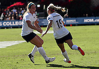 SAN DIEGO, CA - DECEMBER 02, 2012:  Mallory Weber (16) and Taylor Schram (19) of Penn State University after the first Penn goal during the NCAA 2012 women's college championship match, at Torero Stadium, in San Diego, CA, on Sunday, December 02 2012. Carolina won 4-1.