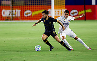CARSON, CA - SEPTEMBER 06: Diego Rossi #9 of LAFC attempts to move past Joe Corona #15 of the Los Angeles Galaxy during a game between Los Angeles FC and Los Angeles Galaxy at Dignity Health Sports Park on September 06, 2020 in Carson, California.