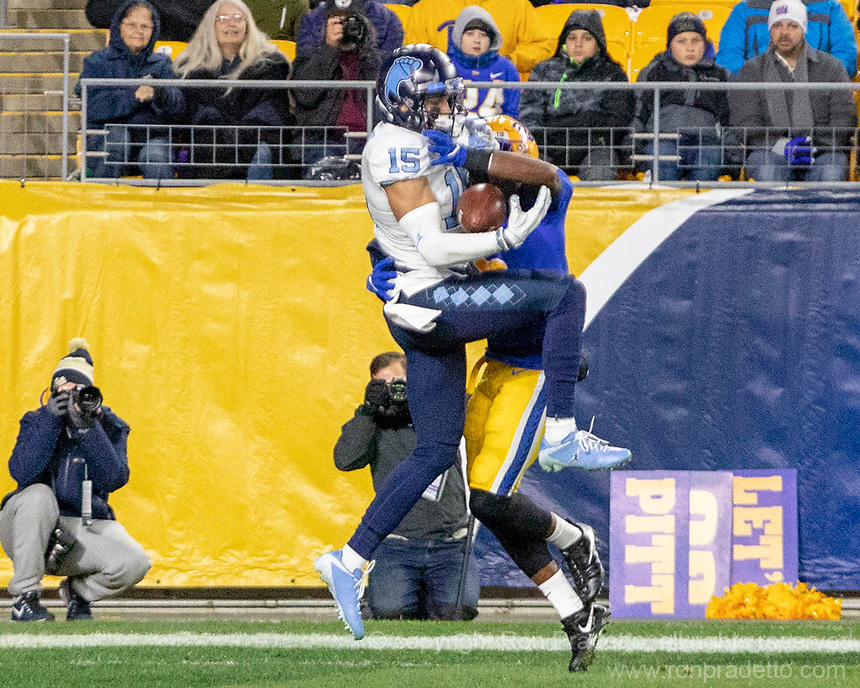 North Carolina wide receiver Beau Corrales (15) makes a 21-yard touchdown catch. The Pitt Panthers defeated the North Carolina Tarheels 34-27 in overtime in the football game on November 14, 2019 at Heinz Field, Pittsburgh, Pennsylvania.