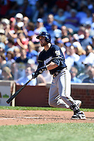Milwaukee Brewers catcher Jonathan Lucroy (20) at bat during a game against the Chicago Cubs on August 14, 2014 at Wrigley Field in Chicago, Illinois.  Milwaukee defeated Chicago 6-2.  (Mike Janes/Four Seam Images)