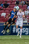 FC Internazionale Forward Jonathan Biabiany (L) fights for the ball with Bayern Munich Defender Marco Friedl (R) during the International Champions Cup match between FC Bayern and FC Internazionale at National Stadium on July 27, 2017 in Singapore. Photo by Marcio Rodrigo Machado / Power Sport Images