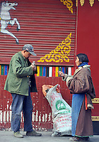 Tibetans beg on the streets of Xining, Qinghai Province 14 November 2008. Qinghai Province in western China borders Tibet and parts were the scenes of disturbance earlier this year, 2008.<br />
