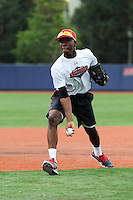 Under Armour All-American selection Nick Gordon of Olympia High School in Orlando, Florida flips the ball during a drill at the University of Illinois at Chicago on August 22, 2013 in Chicago, Illinois in preparation for the Under Armour All-American Game that will take place at Wrigley Field on August 24th.  (Mike Janes/Four Seam Images)