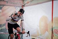 Wout Van Aert (BEL/Cibel-Cebon) warming up pre-race<br /> <br /> Elite Men's Race<br /> Belgian National CX Championschips<br /> Kruibeke 2019