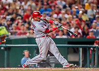 15 August 2017: Los Angeles Angels catcher Martin Maldonado in 5th inning action against the Washington Nationals at Nationals Park in Washington, DC. The Nationals defeated the Angels 3-1 in the first game of their 2-game series. Mandatory Credit: Ed Wolfstein Photo *** RAW (NEF) Image File Available ***