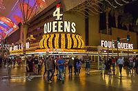Las Vegas, Nevada.  Fremont Street.  4 Queens Casino Marquee.