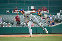 Midland RockHounds MIkey White (5) throws to first base during a Texas League game against the Frisco RoughRiders on May 21, 2019 at Dr Pepper Ballpark in Frisco, Texas.  (Mike Augustin/Four Seam Images)