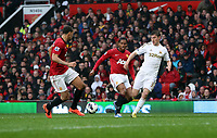 Pictured: Rio Ferdinand (L), Ben Davies (R). <br /> Sunday 12 May 2013<br /> Re: Barclay's Premier League, Manchester City FC v Swansea City FC at the Old Trafford Stadium, Manchester.