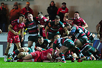 Rob Evans of Scarlets scores his sides third try during the Heineken Champions Cup round 5 match between the Scarlets and Leicester Tigers at the Parc Y Scarlets Stadium in Llanelli, Wales, UK. Saturday 12th January 2019