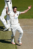 16th April 2021; Emirates Old Trafford, Manchester, Lancashire, England; English County Cricket, Lancashire versus Northants; Ben Sanderson of Northamptonshire appeals for lbw
