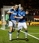 Jon Daly celebrates his goal for Rangers with team mate Calum Gallagher