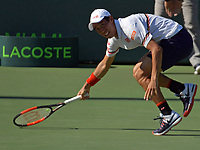 KEY BISCAYNE, FL - MARCH 25: Kei Nishikori  during day 7 of the Miami Open Presented by Itau at Crandon Park Tennis Center on March 25, 2018 in Key Biscayne, Florida.<br /> <br /> <br /> People:  Kei Nishikori