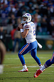 Buffalo Bills quarterback Nathan Peterman (2) looks to pass during an NFL Wild-Card football game against the Jacksonville Jaguars, Sunday, January 7, 2018, in Jacksonville, Fla.  (Mike Janes Photography)