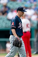 Reno Aces starting pitcher Anthony Vasquez (33) walks off the field during a game against the Fresno Grizzlies at Chukchansi Park on April 8, 2019 in Fresno, California. Fresno defeated Reno 7-6. (Zachary Lucy/Four Seam Images)