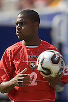 Panama's Carlos Rivera readies for a throw in. The United States defeated Panama 3-1 in a shoot out after a scoreless game to win the CONCACAF Gold Cup at Giant's Stadium, East Rutherford, NJ, on July 24, 2005.