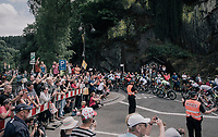 the peloton welcomed at the foot of the 3rd cat climb; the Côte d'Eschdorf (2.3km @ 9.3%)<br /> <br /> 104th Tour de France 2017<br /> Stage 3 - Verviers › Longwy (202km)