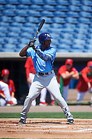 Charlotte Stone Crabs left fielder Bralin Jackson (24) at bat during a game against the Clearwater Threshers on April 13, 2016 at Bright House Field in Clearwater, Florida.  Charlotte defeated Clearwater 1-0.  (Mike Janes/Four Seam Images)