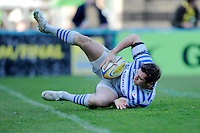 Alex Goode of Saracens dives over to score a try during the Aviva Premiership match between London Wasps and Saracens at Adams Park on Saturday 29th March 2014 (Photo by Rob Munro)