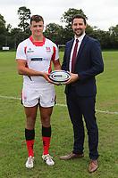 Ulster Rugby Schools 2018-2019<br /> <br /> Ballyclare High School player Jack Gamble with Danske Bank representative Ian Russell.<br /> <br /> Photo by John Dickson / DICKSONDIGITAL