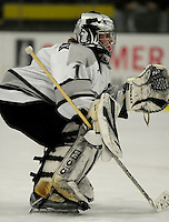 1 December 2007: Providence College Friars' goaltender Chris Mannix, a Junior from Hubbardston, MA, warms up prior to a game against the University of Vermont Catamounts at Gutterson Fieldhouse in Burlington, Vermont. The Friars defeated the Catamounts 4-0 in front of a capacity crowd of 4003, for the 64th consecutive sell-out at Gutterson...Mandatory Photo Credit: Ed Wolfstein Photo