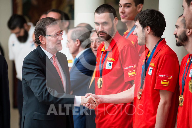 The reception of Prime Minister Mariano Rajoy to Spain national basketball team gold at EuroBasket 2015 at Moncloa Palace in Madrid, 21 September, 2015.<br /> Prime Minister Mariano Rajoy and Gillem Vives.<br /> (ALTERPHOTOS/BorjaB.Hojas)