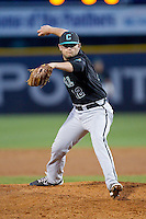 Coastal Carolina Chanticleers relief pitcher Seth Lamando (12) in action against the High Point Panthers at Willard Stadium on March 15, 2014 in High Point, North Carolina.  The Panthers defeated the Chanticleers 11-8 in game two of a double-header.  (Brian Westerholt/Four Seam Images)