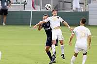 CARY, NC - AUGUST 01: Jonathan Dean #24 heads the ball during a game between Birmingham Legion FC and North Carolina FC at Sahlen's Stadium at WakeMed Soccer Park on August 01, 2020 in Cary, North Carolina.