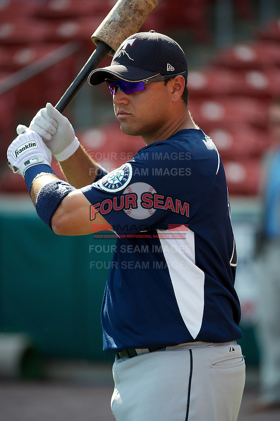 Tacoma Rainers catcher Guillermo Quiroz #18 during practice before the Triple-A All-Star game featuring the Pacific Coast League and International League top players at Coca-Cola Field on July 11, 2012 in Buffalo, New York.  PCL defeated the IL 3-0.  (Mike Janes/Four Seam Images)