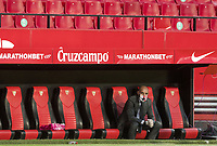 11th June 2020, Sevilla, Spain;  La Liga Spanish football league. Sevilla FC versus Real Betis. Resumption of football matches in Spain after three months postponed by the global pandemic of COVID-19. Game was played without any fans in the stadium and with  strict sanitary measures.