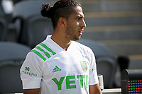 LOS ANGELES, CA - APRIL 17: Cecilio Domínguez #10 of Austin FC during a game between Austin FC and Los Angeles FC at Banc of California Stadium on April 17, 2021 in Los Angeles, California.