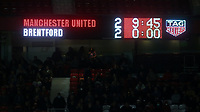 The electronic scoreboard shows the final score during Manchester United vs Brentford, Friendly Match Football at Old Trafford on 28th July 2021