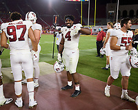 LOS ANGELES, CA - SEPTEMBER 11: Thomas Booker #4 of the Stanford Cardinal in the final minutes of the fourth quarter during a game between University of Southern California and Stanford Football at Los Angeles Memorial Coliseum on September 11, 2021 in Los Angeles, California.