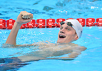 July 30, 2012..Yannick Agnel  of Fance reacts after winning men's 200m freestyle event at the Aquatics Center on day three of 2012 Olympic Games England in London, United Kingdom...