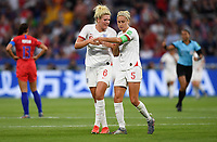 DECINES-CHARPIEU, FRANCE - JULY 02: Millie Bright #6, Steph Houghton #5 celebrate during a 2019 FIFA Women's World Cup France Semi-Final match between England and the United States at Groupama Stadium on July 02, 2019 in Decines-Charpieu, France.