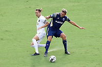 CARY, NC - AUGUST 01: Robert Kristo #11 shields Jake Rufe #13 off of the ball during a game between Birmingham Legion FC and North Carolina FC at Sahlen's Stadium at WakeMed Soccer Park on August 01, 2020 in Cary, North Carolina.
