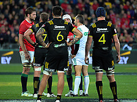 Referee Romain Poite sin bins Iain Henderson (left) during the 2017 DHL Lions Series rugby match between the Hurricanes and British & Irish Lions at Westpac Stadium in Wellington, New Zealand on Tuesday, 27 June 2017. Photo: Dave Lintott / lintottphoto.co.nz