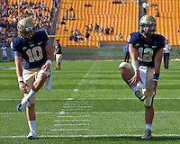 Pitt quarterbacks Trey Anderson (10) and Tino Sunseri (12). The Pittsburgh Panthers beat the Buffalo Bulls 35-16 at Heinz field in Pittsburgh, Pennsylvania on September 3, 2011